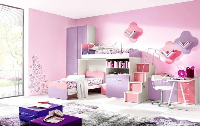 pembe çocuk odası duvar rengi